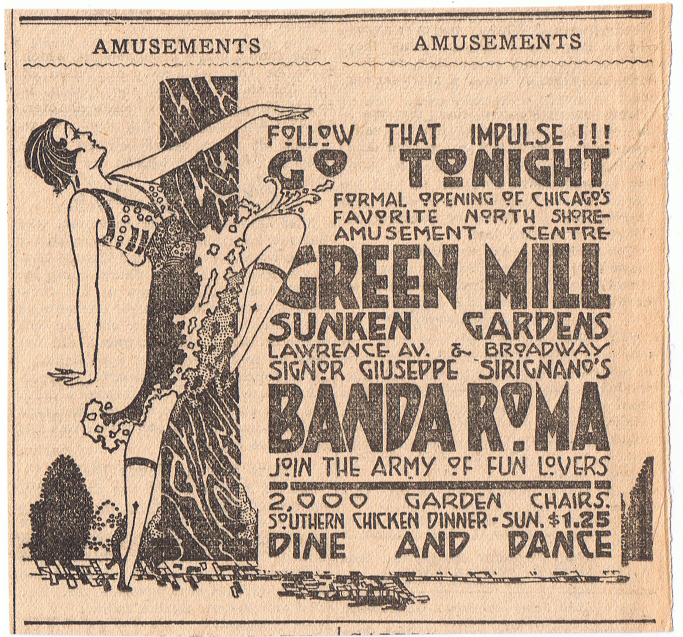 """Green Mill Sunken Gardens,"" from Uptown History, via Make It Like a Man! Free Wi-Fi in Uptown 02"
