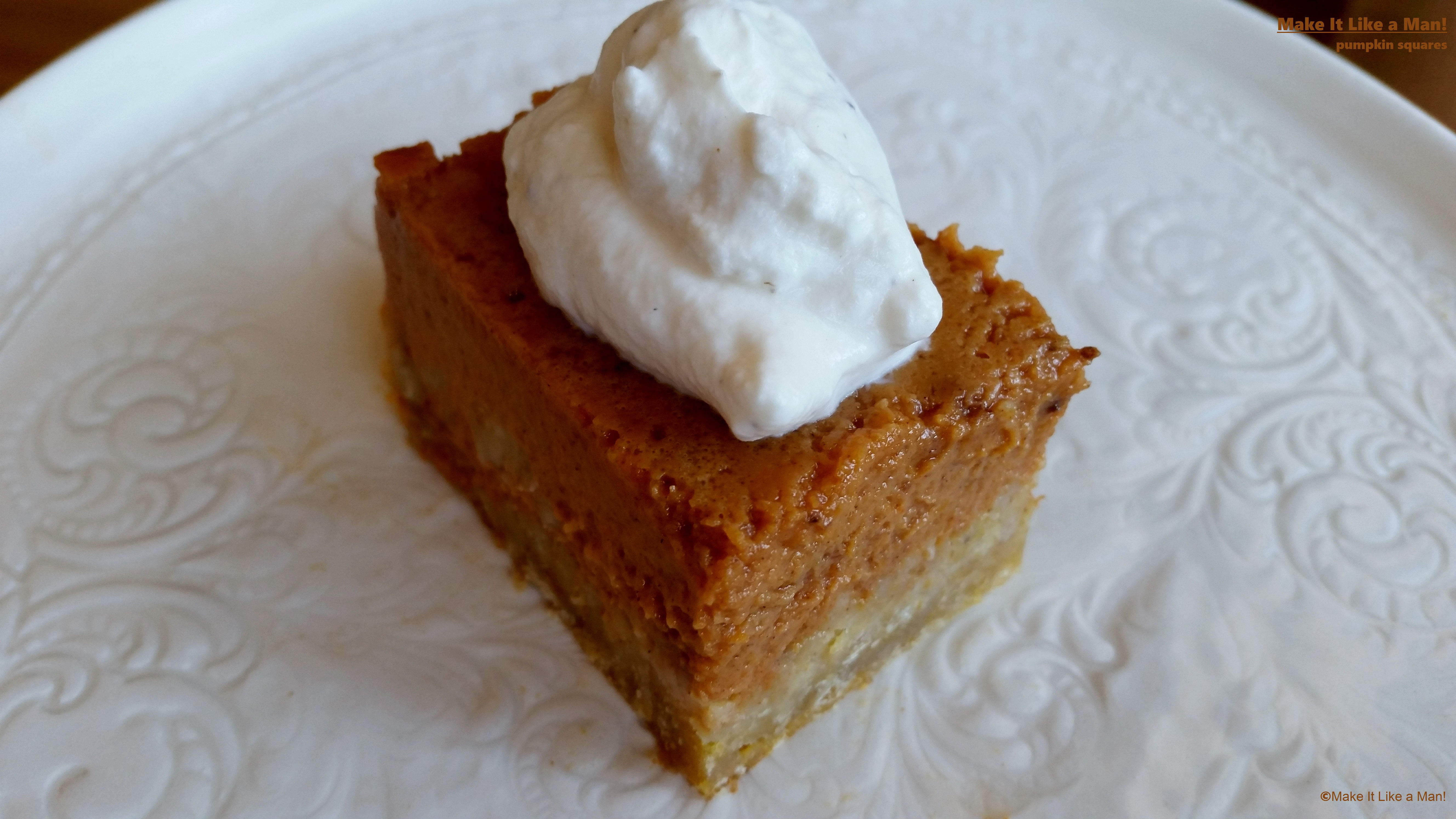 Pumpkin Pie Bars with Clove Whipped Cream - Make It Like a Man!