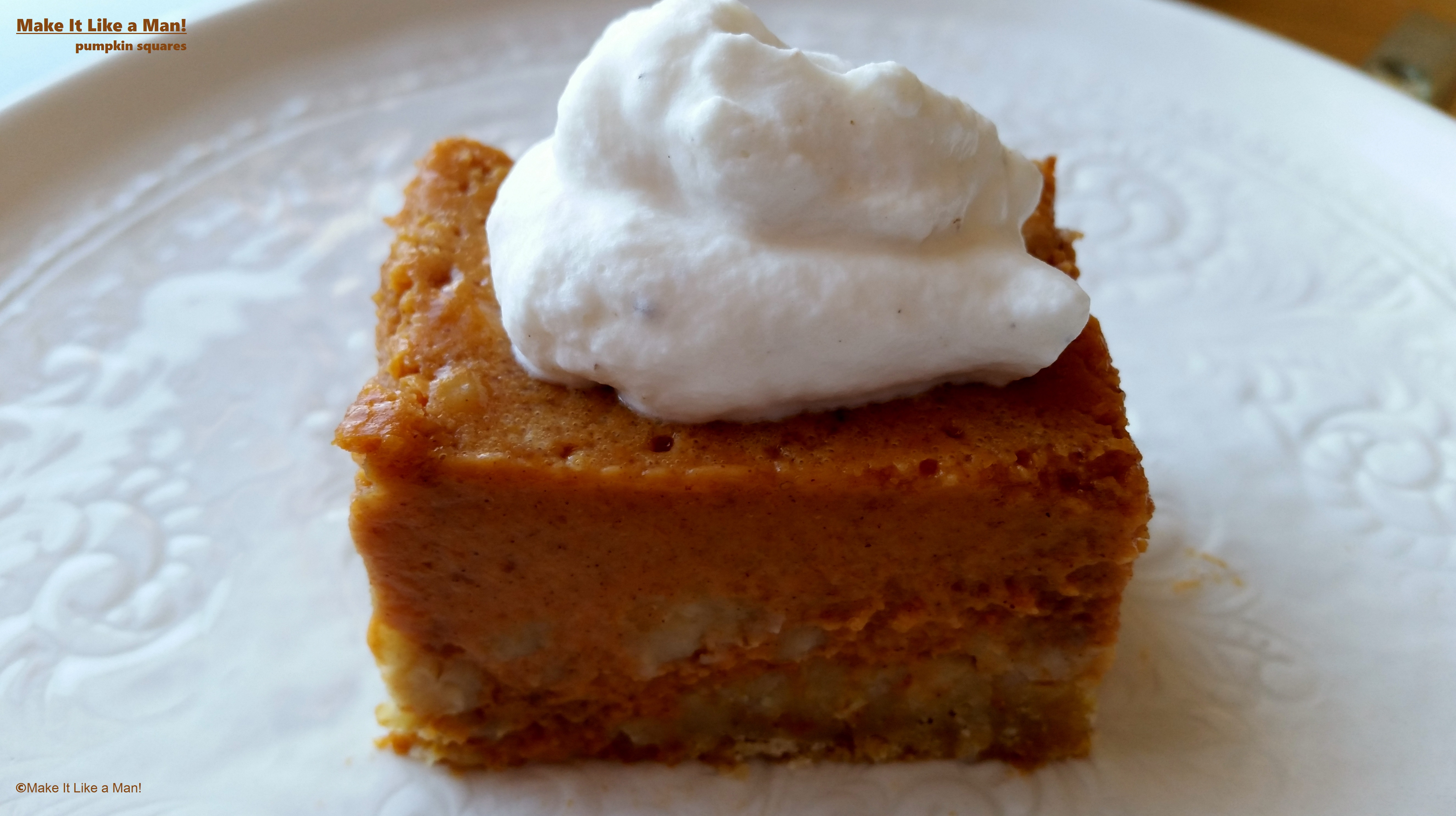 Pumpkin Pie Squares with Clove Whipped Cream
