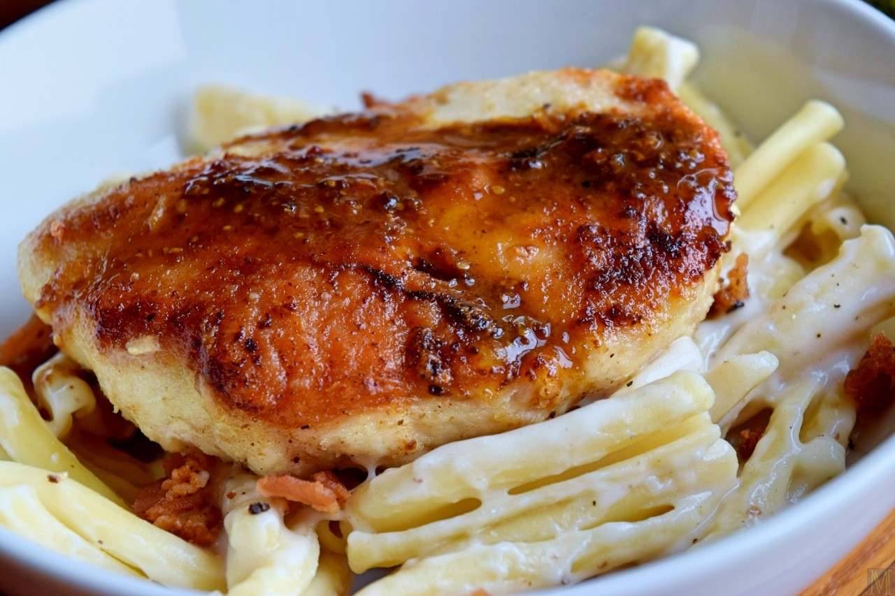 """""""Chicken over Pasta in a Brie and Bacon Sauce,"""" from Make It Like a Man!"""